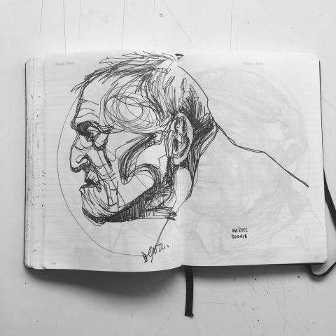 pen on paper - one line sketch -