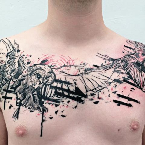 Ink in skin - owl -