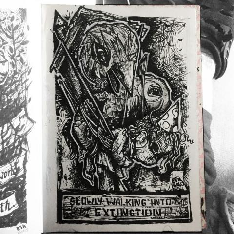 pen on paper - extinction - I did not use any references for this drawing, which is made with a brush-pen on pretty rough paper. I'm pretty happy with this one, what do you think? . .