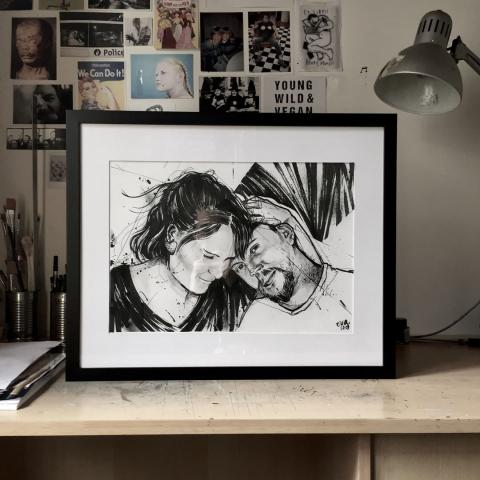 <p>brushpen on paper⁠ - beesje -⁠ Commissioned by my sister, a portrait of herself and J, her boyfriend. ⁠ Would you like to know more about commissions? just ask :) eva@tart.gent⁠ .⁠ .⁠ ⁠</p>