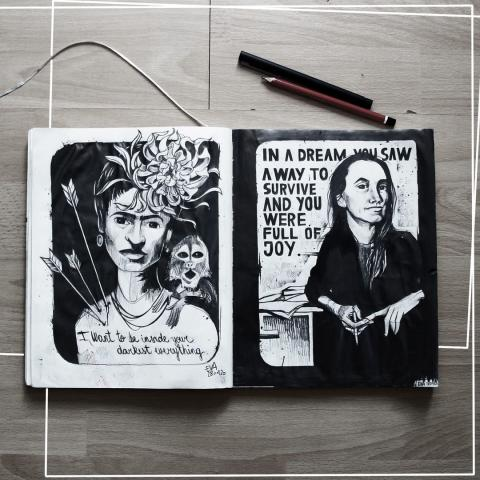 pencil on paper⁠ -Frida and jenny -⁠ Fun pencil sketches of Frida Kahlo and Jenny Holzer, if I can't seem to find inspiration for sketches, I tend to go find people who inspire me. These two women most certainly do.⁠ It was a cool change to work only with pencil again.⁠ .⁠ .⁠